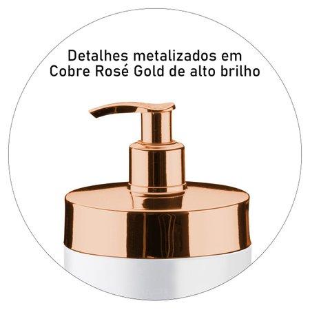 Dispenser Porta Detergente de Pia Sabonete Liquido Cobre Rosé Gold Branco