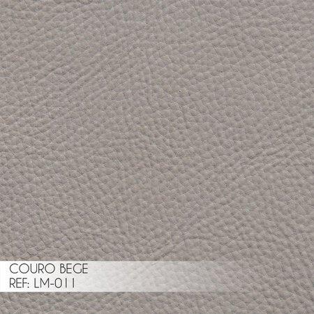 Kit 2 Poltrona Decorativa Sala de Estar Costela Couro Bege - Gran Belo