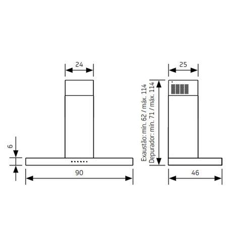 Coifa de Parede Tbox Inox 90cm Brastemp 220V BAE90ARBNA