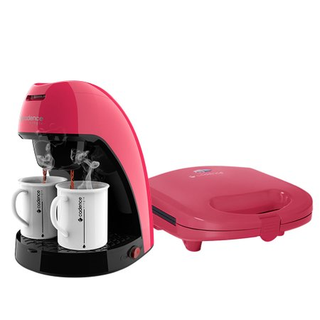 Kit Cadence Colors Rosa Doce - Cafeteira e Sanduicheira