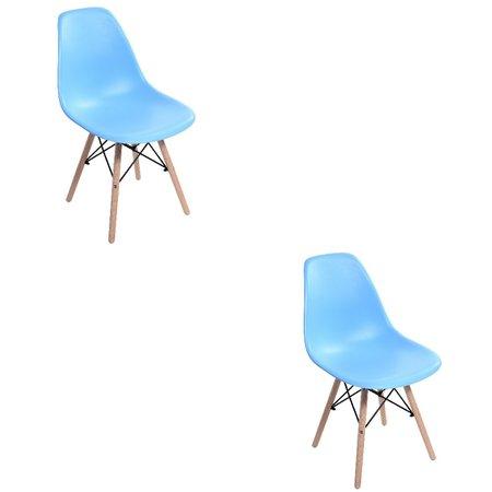 Kit c/ 2 Cadeiras Charles Eames Lara Base Madeira Fixa