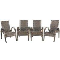 4 Cadeiras de Área Varanda Jardim Edícula Napoli Fibra Sintética Argila