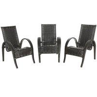 3 Cadeiras de Área Varanda Jardim Edícula Napoli Fibra Sintética Tabaco