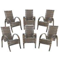 6 Cadeiras de Área Varanda Jardim Edícula Napoli Fibra Sintética Argila