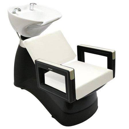 Kit 2 Cadeiras + Lavatório Porcelana Móveis Salão Beleza Dompel Branco Peróla
