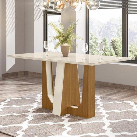 Mesa de Jantar Tampo de Vidro 160cm Alfa Nature Off White