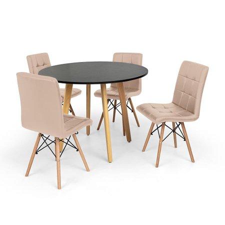 Conjunto Mesa de Jantar Laura 100cm Preta com 4 Cadeiras Eiffel Gomos - Nude