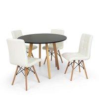Conjunto Mesa de Jantar Laura 100cm Preta com 4 Cadeiras Eiffel Gomos - Branca