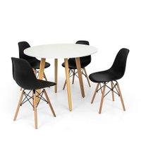 Conjunto Mesa de Jantar Laura 100cm Branca com 4 Cadeiras Charles Eames - Preta