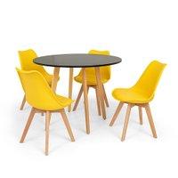 Conjunto Mesa de Jantar Laura 105cm Preta com 4 Cadeiras Eames Wood Leda - Amarela