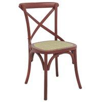 Cadeira Decorativa Sala de Jantar Cozinha Danna Rattan Natural Vermelha - Gran Belo