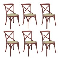 kit 6 Cadeiras Decorativas Sala De Jantar Cozinha Danna Rattan Natural Vermelha - Gran Belo