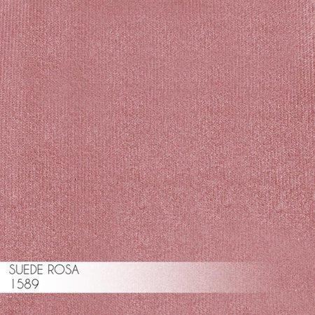 Kit 2 Banqueta Decorativa Selena Base Preta Suede Rosa - Gran Belo
