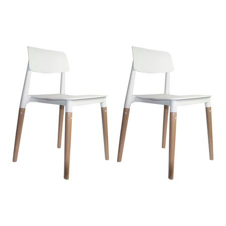 Kit 2 Cadeiras Decorativas Sala e Cozinha (PP) Viper Branca - Gran Belo