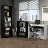 Escrivaninha Madesa Rubi + Estante 6908 + Estante 6907 - Preto/Branco