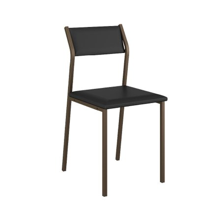 Cadeira Tubo Bronze Napa Preto Carraro