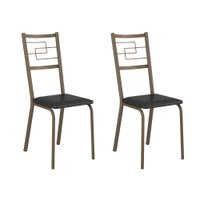 Conjunto 2 Cadeiras Tubo Bronze Napa Preta Carraro