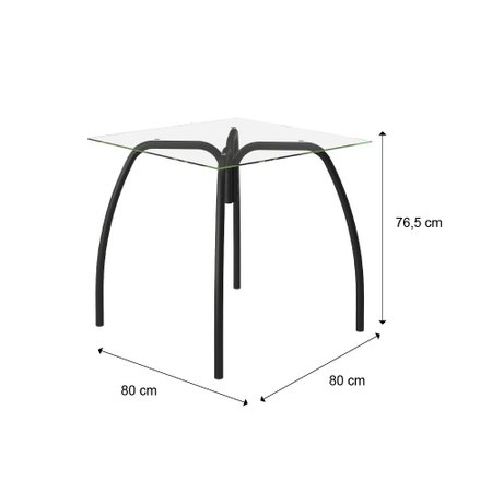 Mesa de Jantar Vidro Incolocor 6mm e Tubos Pretos Carraro