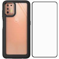 Capa Protetora Transparente Preta Motorola Moto G9 Plus Com Película Protetora