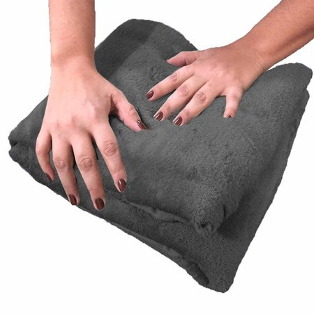 Cobertor Queen Manta de Microfibra 01 Peça (Toque Aveludado) - Chumbo