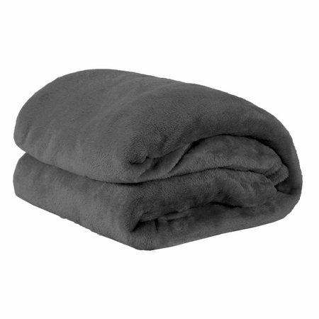 Kit de Cobertores Casal Queen Manta de Microfibra 02 Peças (Toque Aveludado) - Chumbo