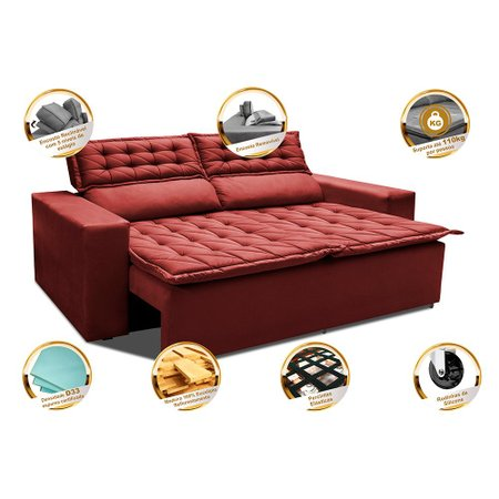 Sofá 3 Lugares Retrátil e Reclinável Cama inBox Slim 1,80m Velusoft Vermelho