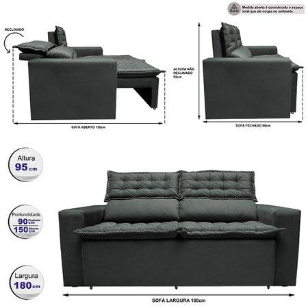 Sofá 3 Lugares Retrátil e Reclinável Cama inBox Slim 1,80m Velusoft Cinza