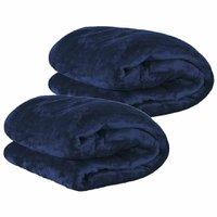 Kit de Cobertores Casal Manta Microfibra Fleece 02 Peças - Azul Marinho