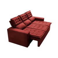 Sofá 3 Lugares Retrátil e Reclinável Cama inBox Slim 2,00m Velusoft Vermelho