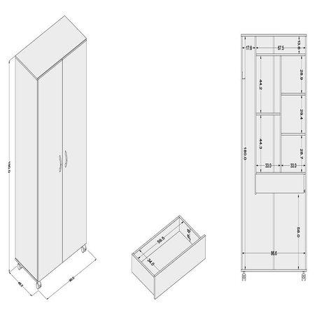 Armário Multiuso 2 Portas 1 Gaveta Branco
