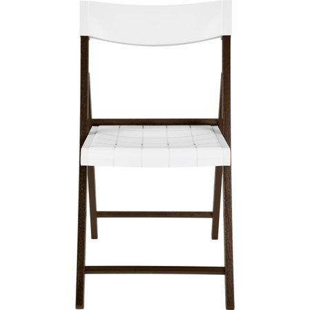 Cadeira Dobrável Tramontina em Madeira Tauarí Tabaco e Polipropileno Branco