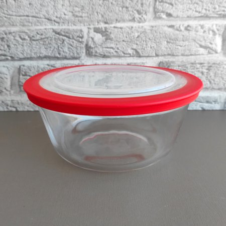 Kit 3 Potes Redondos Tigela De Vidro 1,2l Médio com Tampa Plástica Facilitá Marinex
