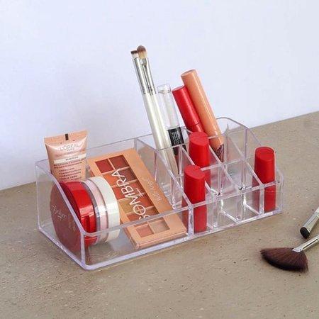 Organizador de Cosméticos Porta Maquiagem Batom de Mesa Bancada Cristal Essencial Dello