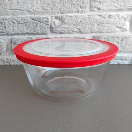 Pote Redondo Tigela De Vidro 1,2l Médio com Tampa Plástica Facilitá Marinex