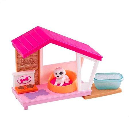Barbie Mini Conjunto com Pet Casinha de Cachorro - Mattel