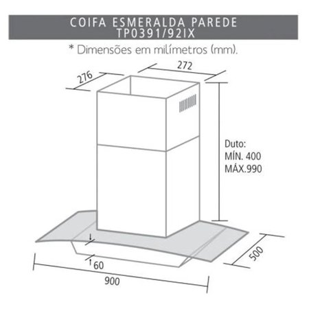 Coifa De Parede Suggar Esmeralda 90cm Inox e Vidro 110V .TP0391IX