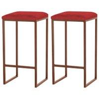 Kit 2 Banqueta Decorativa Billie Base Bronze Veludo Vermelho - Gran Belo