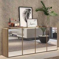 Aparador Buffet 4 Portas c/ Espelho Vegas Multimóveis Rustic