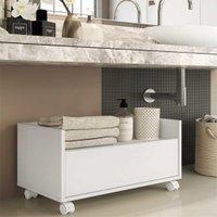 Gabinete Armário Banheiro 60 cm c/ Rodízios Multimóveis Branco