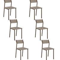 Conjunto 6 Cadeiras Tubo Bronze Tecido Bege Claro 1709 Carraro
