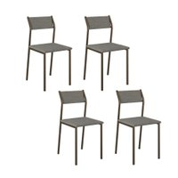 Conjunto 4 Cadeiras Tubo Bronze Tecido Bege Escura 1709 Carraro
