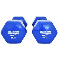 Halter Sextavado em Vinil Ahead Sports 5kg Azul