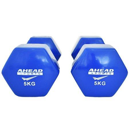 Par de Halter Sextavado em Vinil Ahead Sports 5kg Azul