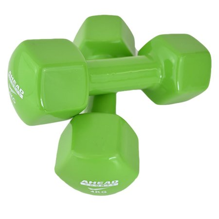Par de Halter Sextavado em Vinil Ahead Sports 4kg Verde