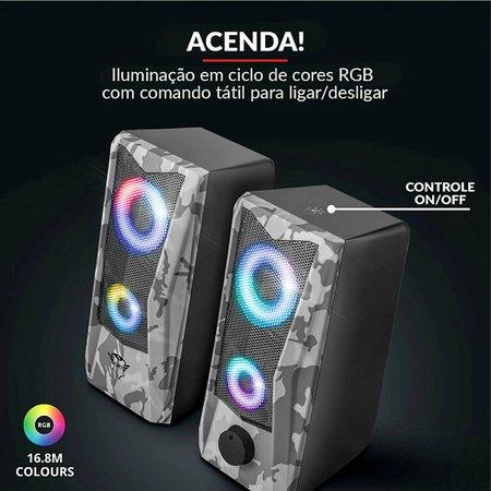 Caixa de Som GXT 606 Illuminated 2.0 Estéreo Speaker Set 6W RMS Grelha Metálica Javv Camuflado Trust