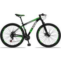 Bicicleta Aro 29 Quadro 15 Alumínio 21 Marchas Freio Disco Mecânico MX1 Preto/Verde - GT Sprint