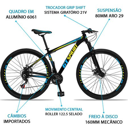 Bicicleta Aro 29 Quadro 15 Alumínio 21 Marchas Freio Disco Mecânico MX1 Preto/Azul - GT Sprint