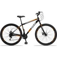 Bicicleta Aro 29 Quadro 17 Aço Garfo Rígido 21 Marchas Freio Mecânico MX1 Preto/Laranja - GT Sprint