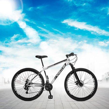 Bicicleta Aro 29 Quadro 17 Aço Suspensão 21 Marchas Freio Disco Mecânico Moon Branco - Spaceline