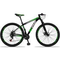 Bicicleta Aro 29 Quadro 21 Alumínio 21 Marchas Freio Disco Mecânico MX1 Preto/Verde - GT Sprint